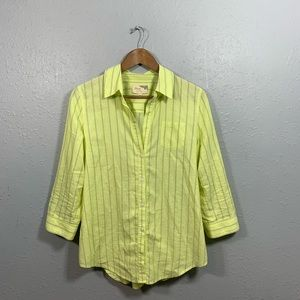 Elizabeth and James Yellow Striped Shirt Size L